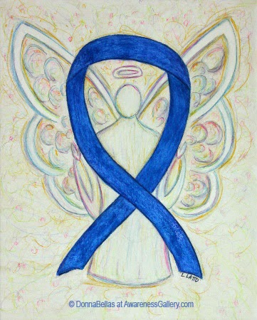 Blue Awareness Ribbon Guardian Angel Art Original Painting