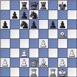 Posición de la partida de ajedrez Ramón Crusi Moré - John Armstrong después de 18… f6?