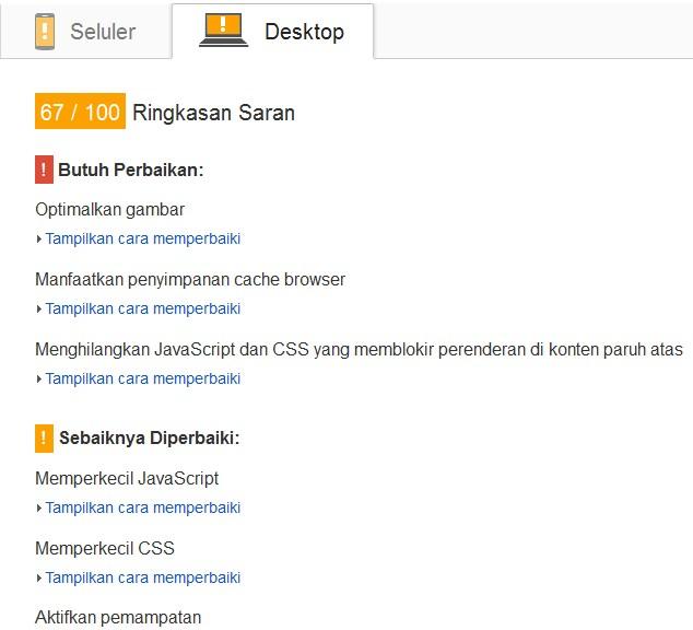 ringkasan saran PageSpeed Insights http://taupintar.blogspot.com
