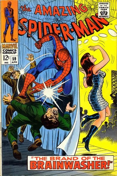 Amazing Spider-Man #59, Mary Jane Watson dances, her first ever cover appearance. All-time Top Ten John Romita Spider-Man Covers