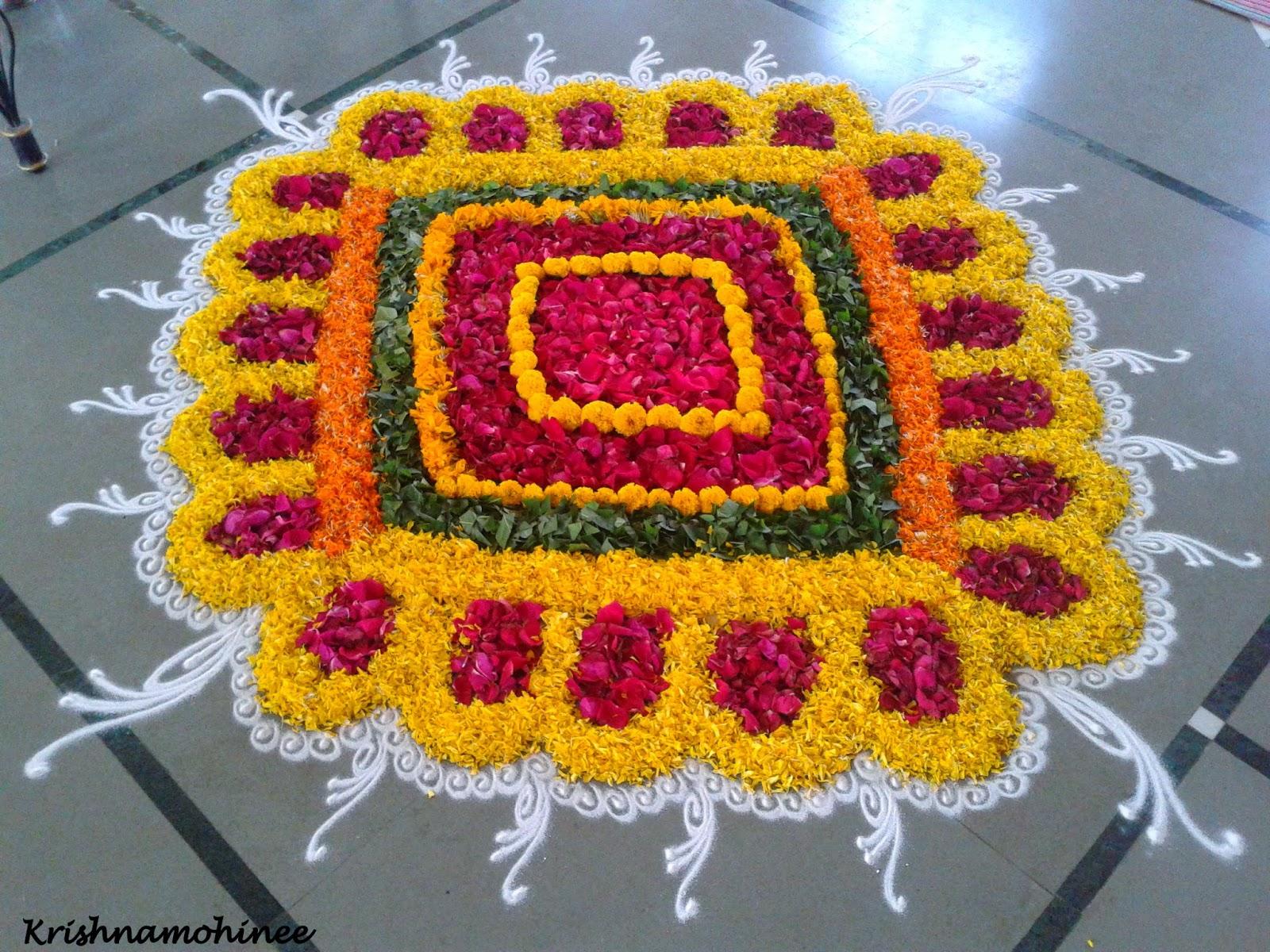 Simple Flower Rangoli Designs Onam Pookalam With Simple Flower