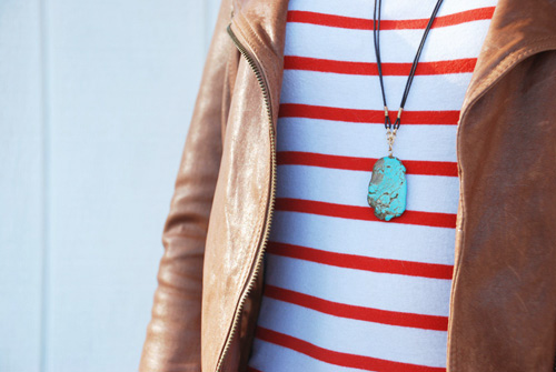striped shirt, leather jacket, turquoise necklace