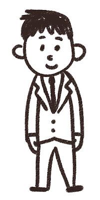 男子中学生・高校生のイラスト「ブレザー姿」 白黒線画