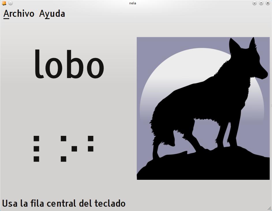 Ventana de Nela con textos en macrotipos en la que se representa la figura de un lobo y se solicita la escritura de la palabra usando los puntos Braille para su representación