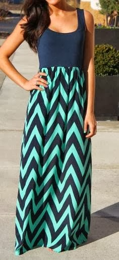 Navy & Mint Chevron Maxi Dress for Ladies