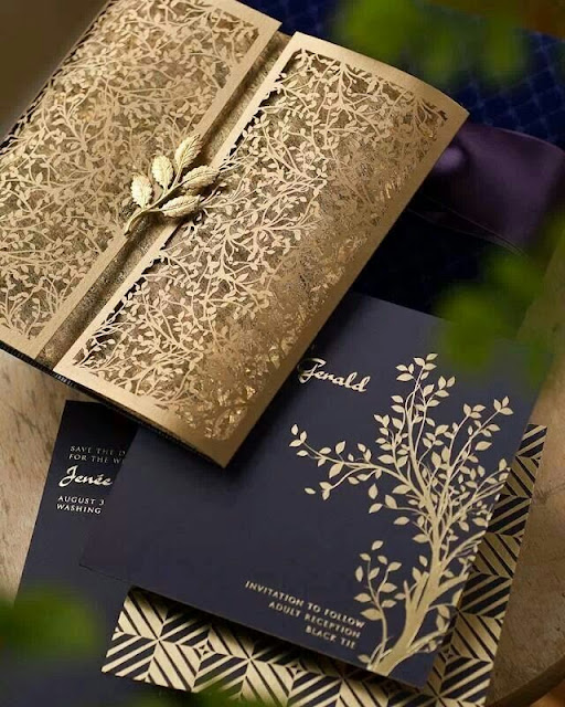 Golden Paper Leaf Wedding Invitation