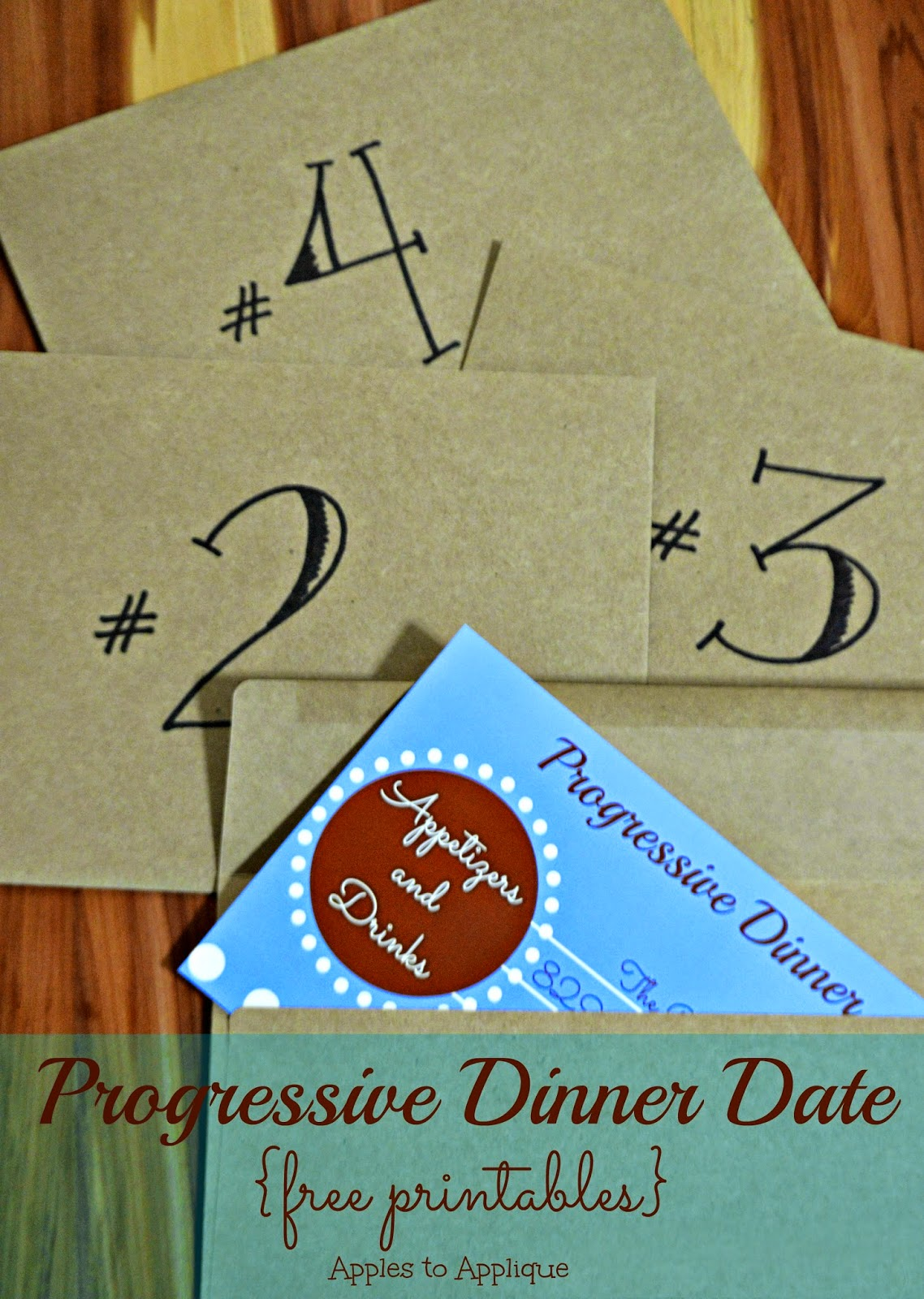 Progressive Dinner Date {with free printables} | Apples to Applique #datenight #dateideas
