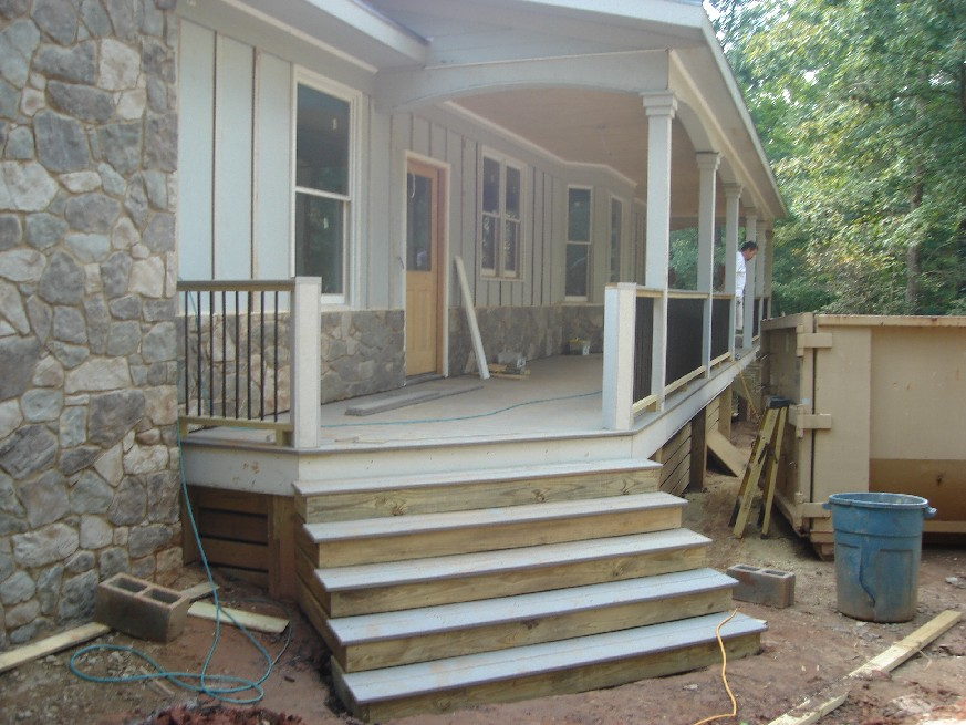 Up from the ashes front porch railings steps trim for Porch garage