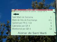 Indicador a l'Alzinar de Sant Martí