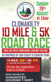 10 mile & 5k in Clonakilty...Sun 28th Aug 2016