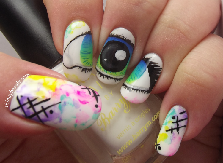 Freehand Water Colour & Eye Nail Art | IthinityBeauty.com Nail Art Blog