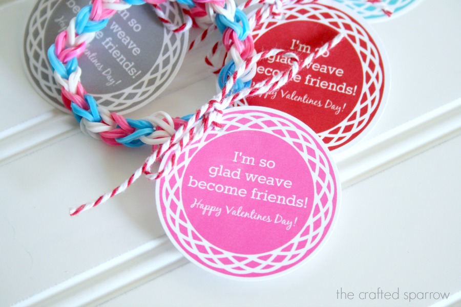 I'm so glad WEAVE become friends. LOOM bracelet Valentine idea with free printable!