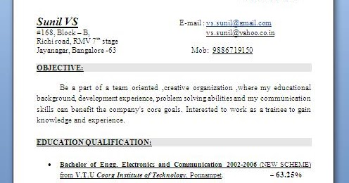 Format of resume download for fresher