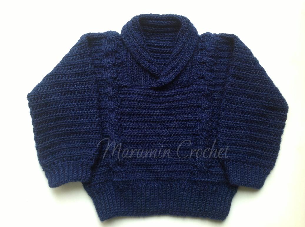 Marumin Crochet: CA 012 - Pullover azul con trenzas ancha/ Blue ...