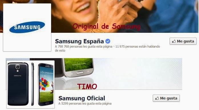 Página original de Samsung en Facebook y TIMO