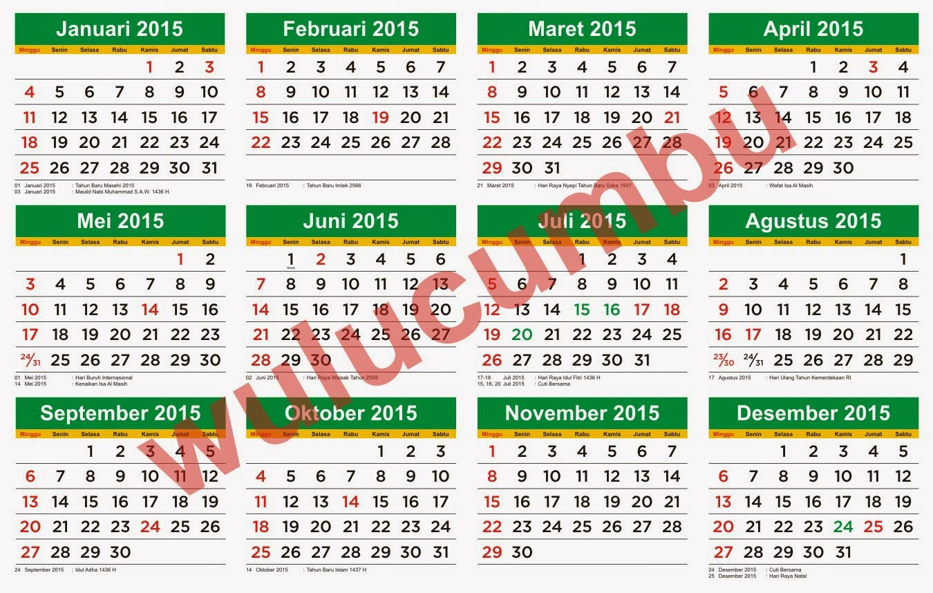 SKB 3 Menteri & Download Gratis Kalender 2015 Versi Corel Draw Full