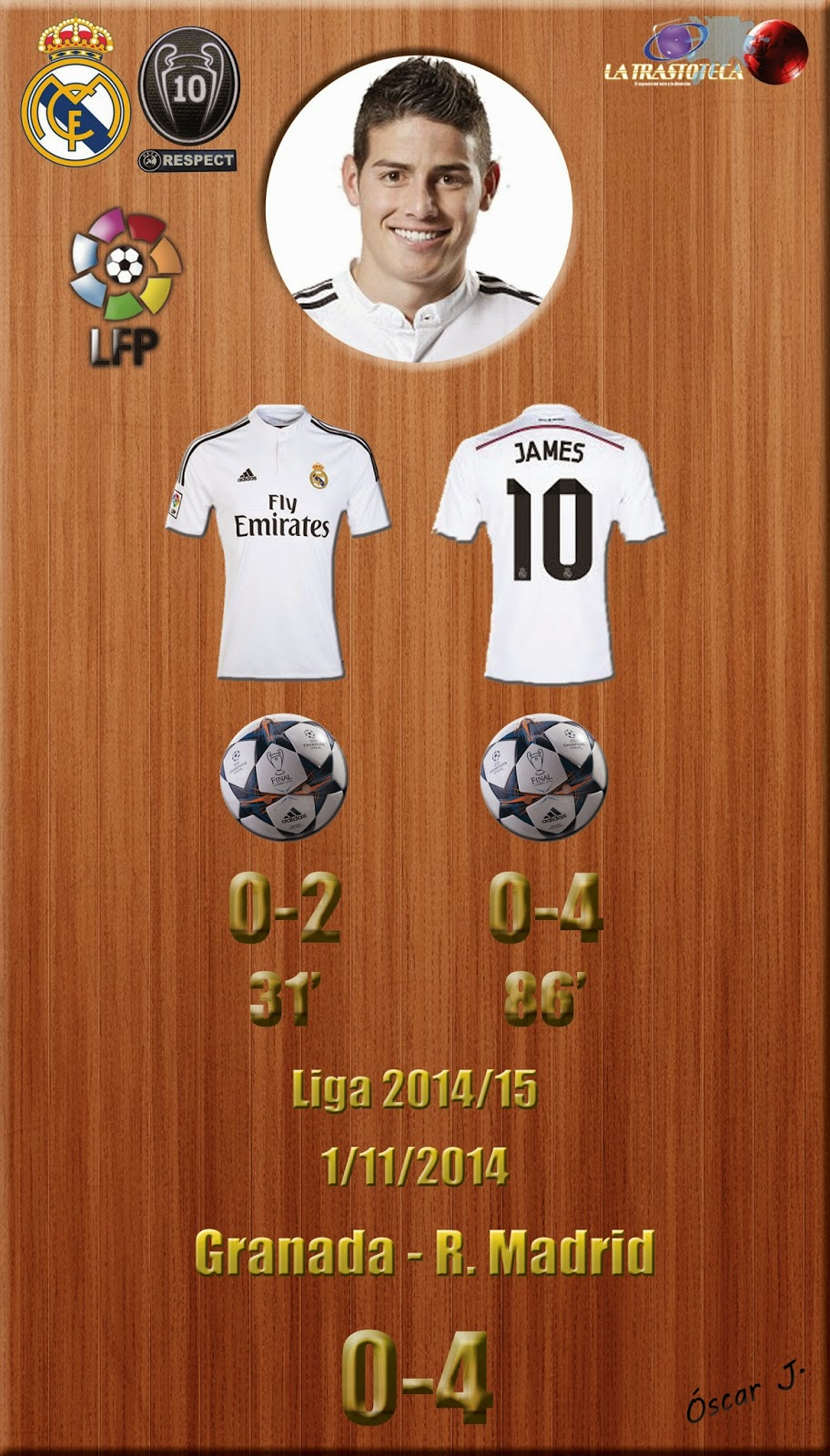James - (doblete) - Granada 0-4 Real Madrid - Liga 2014/15 - (1/11/2014)