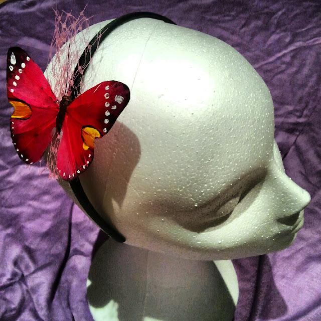 diadema, mariposa, fuxia, rosa, tul, raso, fiesta, económica, barata
