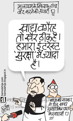 mulayam singh cartoon, upa government, congress cartoon, food security bill, CBI, indian political cartoon