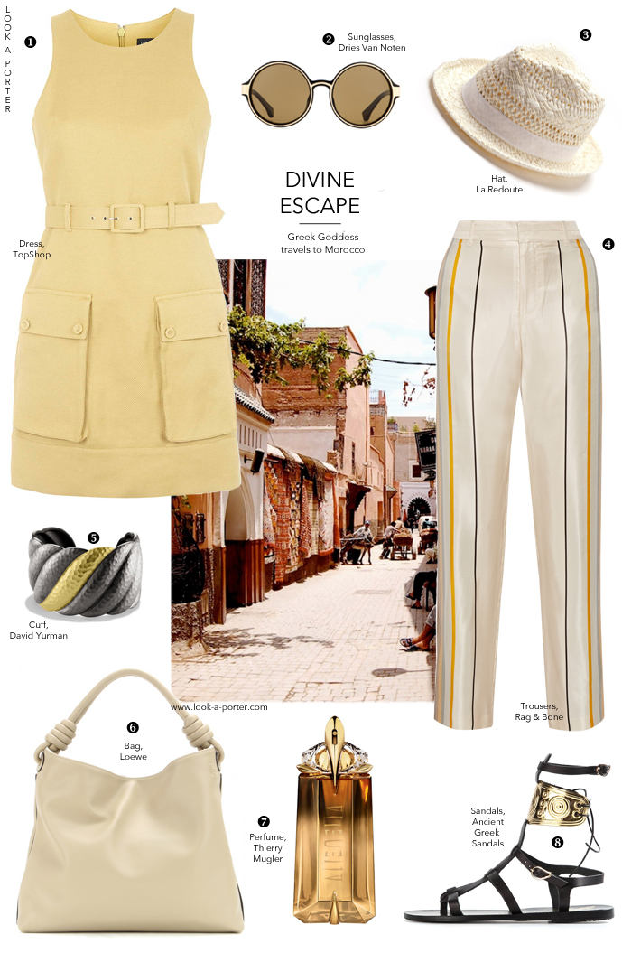 Safari dress inspired outfit idea / Morocco fashion styling / Topshop, ancient greek sandals, Rag & bone, Loewe, Dries van Noten / outfit ideas / how to style / #ootd / via look-a-porter.com