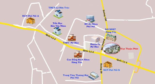 Vị trí Khu liền kề Vạn Thuận Phát Hưng Yên