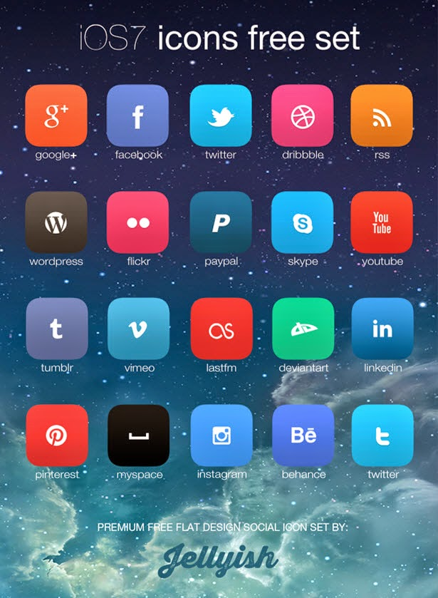 iOS7 inspired social icon set