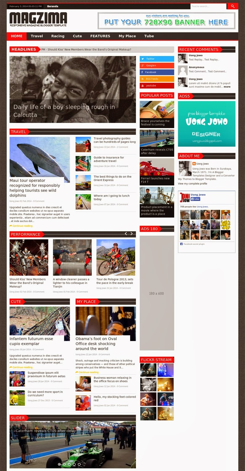 Magzima Responsive Magazine Blogger Template Free Download