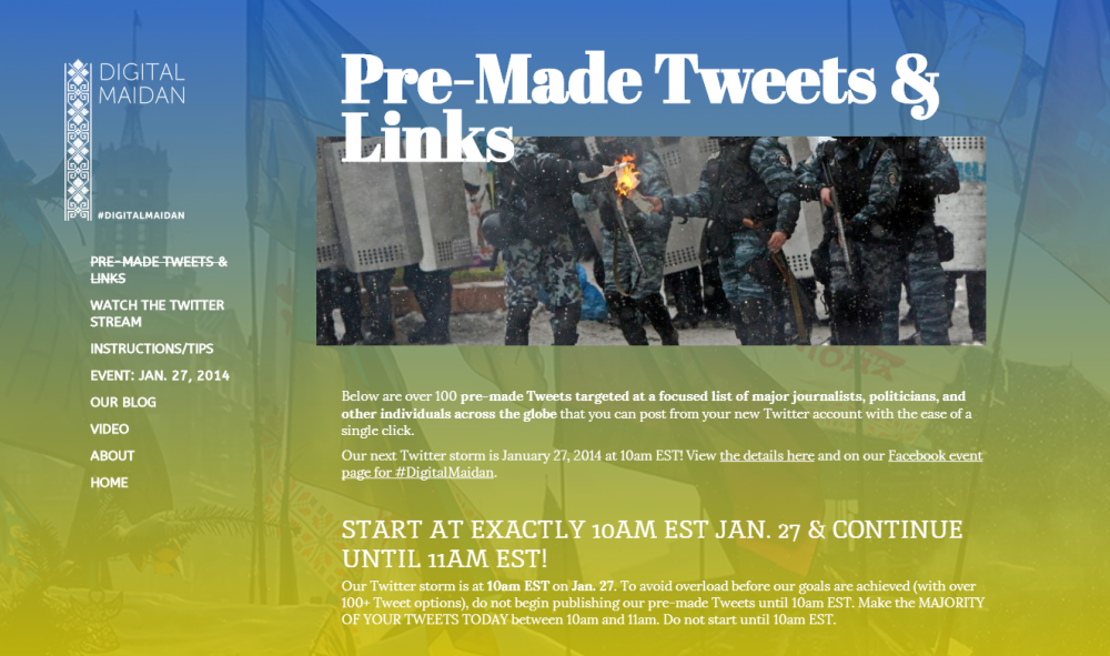 #euromaidan, #Ukraine и #digitalmaidan, а также специальный сервис Digital Maidan