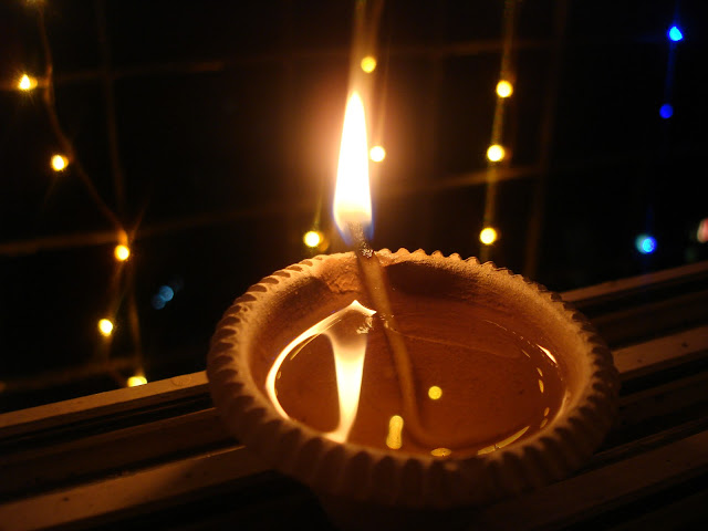 A deeya lit on diwali at my house