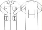 Dibujo de la bata de mujer con tres bolsillos y manga larga.