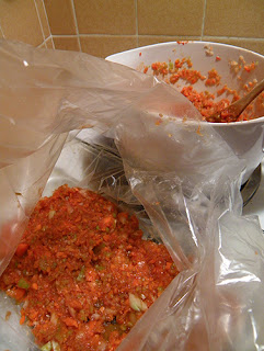 Layer of Veggie Mixture in Oven Bag
