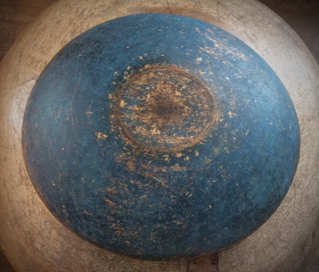 """Vintage Wood Bowl - New Blue Paint, aged and distressed, 9"""" Diameter"""