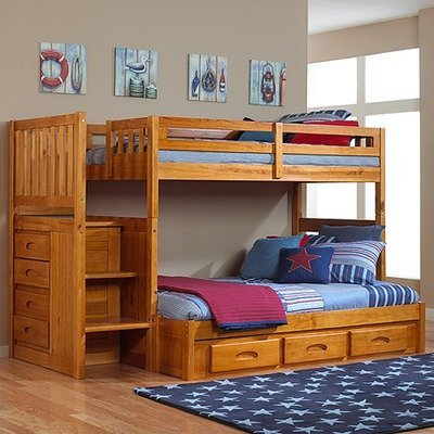 Lower Price Honey Twin Over Full Staircase Bunk Bed from
