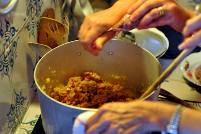 Making the Ragu Bolognese at Borgo Argenina in Gaiole in Chianti, Italy - Photo by Taste As You Go