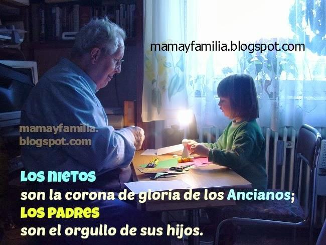 Los Nietos son la bendición de los Ancianos. Imágenes lindas abuelo con nieta jugando. Postales cristianas con versículos de los abuelos, la familia. Tarjetas cristianas para los abuelos.