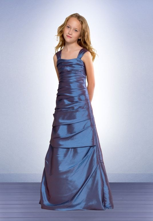 Blue Taffeta Square A-line Long Junior Bridesmaid Dress