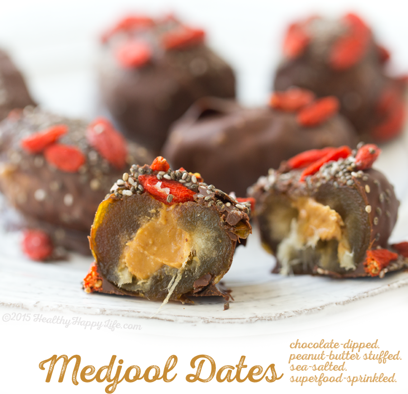 Chocolate-Dipped Peanut Butter Stuffed Medjool Dates