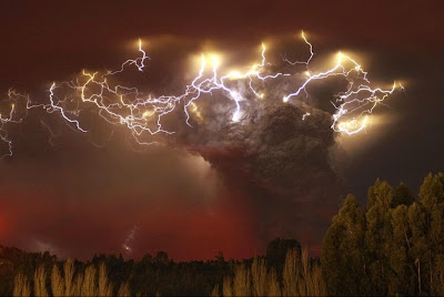 lightning in dust cloud above volcano, Chile