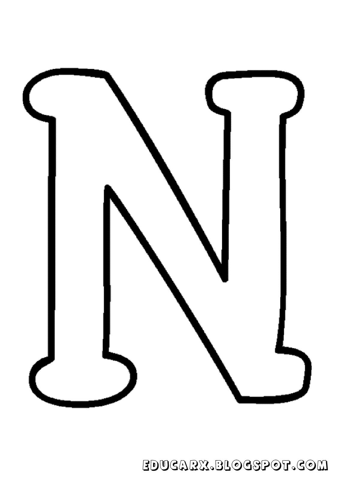 Molde da letra maiúscula N