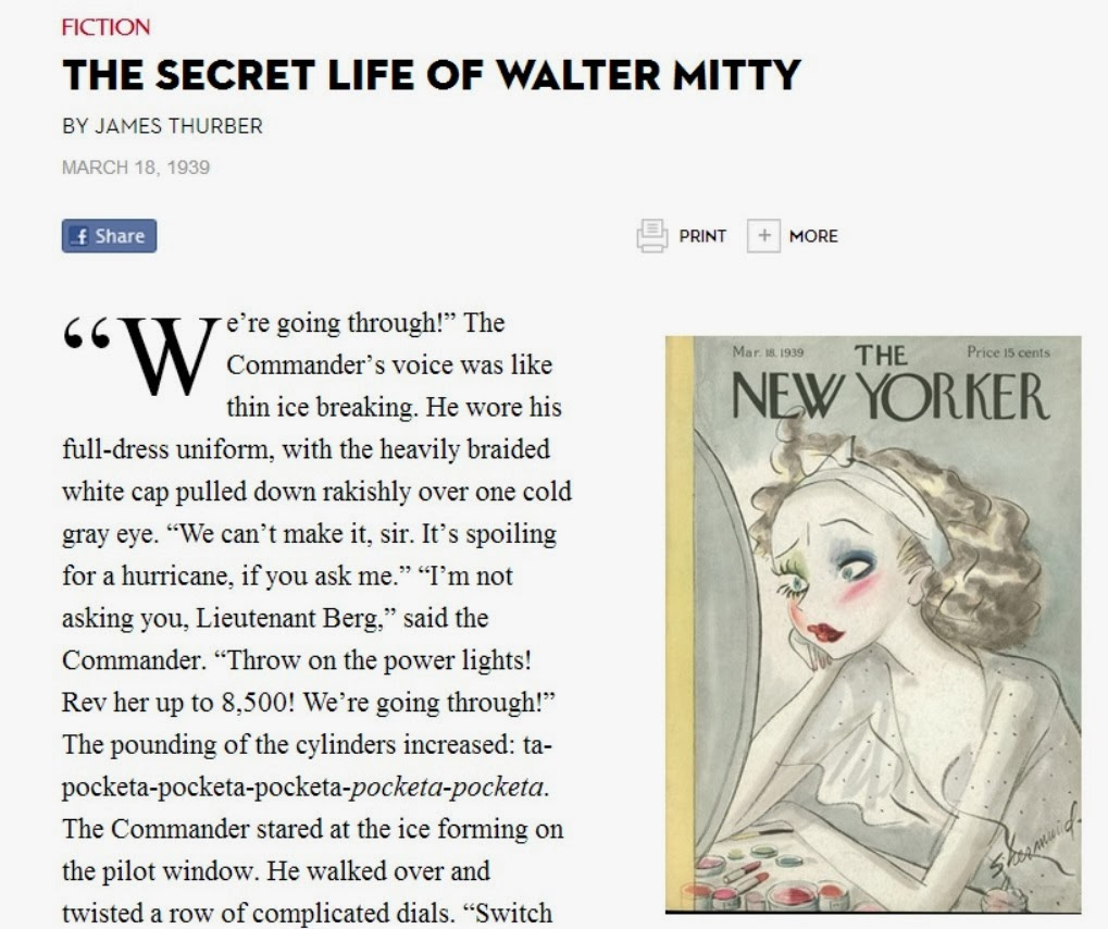 a review of the short story of the secret life of walter mitty by james thurber The secret life of walter mitty, which [] review - 'the secret life of walter mitty' offers family-friendly charm the original film adaptation of james thurber's famous short story came in 1947.