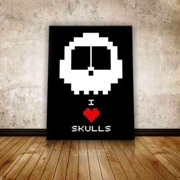 Skull Poster A3 I love Skulls