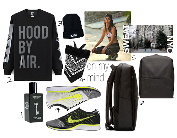 Hood by Air 2014, Tokyo Milk, Sweatthestyle, Nike flyknit, backpack, Kith beanie, flandana