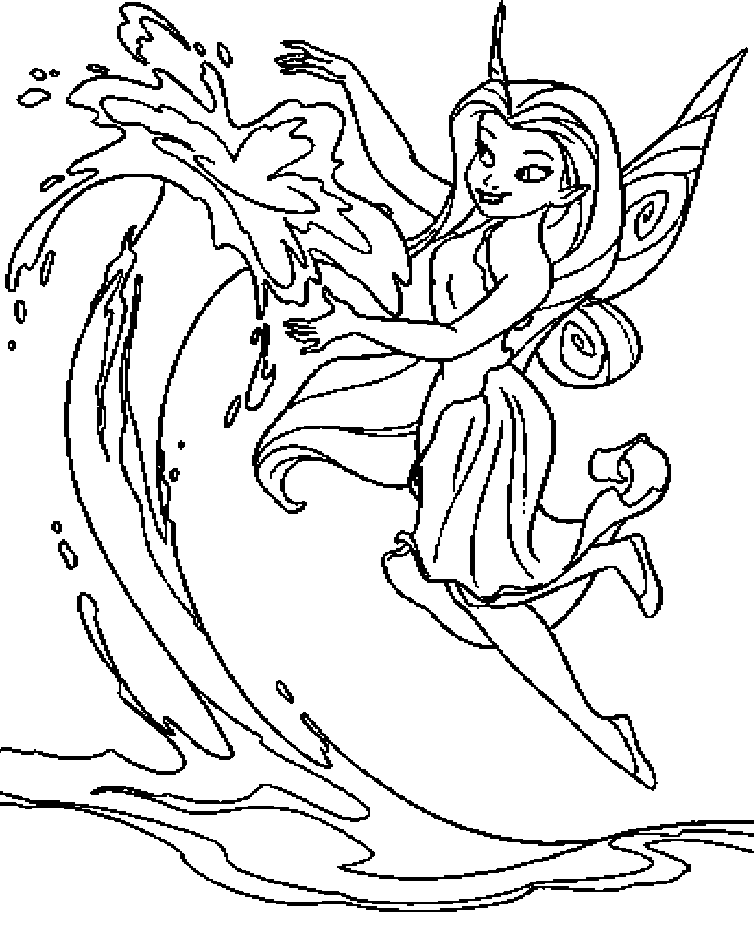 Silvermist fairy disney coloring pages for kid for Water fairy coloring pages