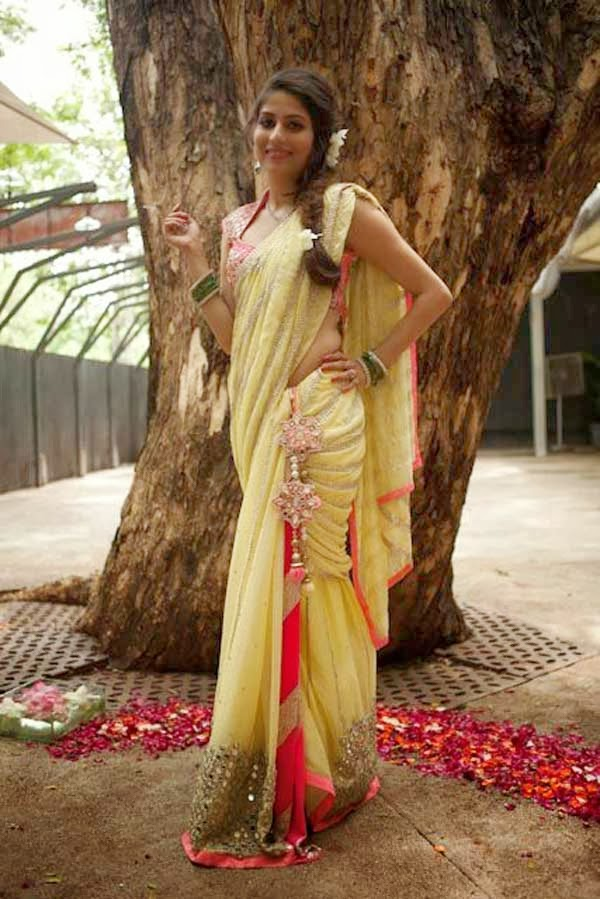 Yellow Mirror Work Lehenga Saree