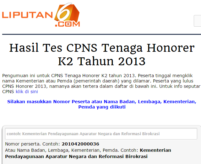 Cara Mengetahui NIP CPNS Honorer K2