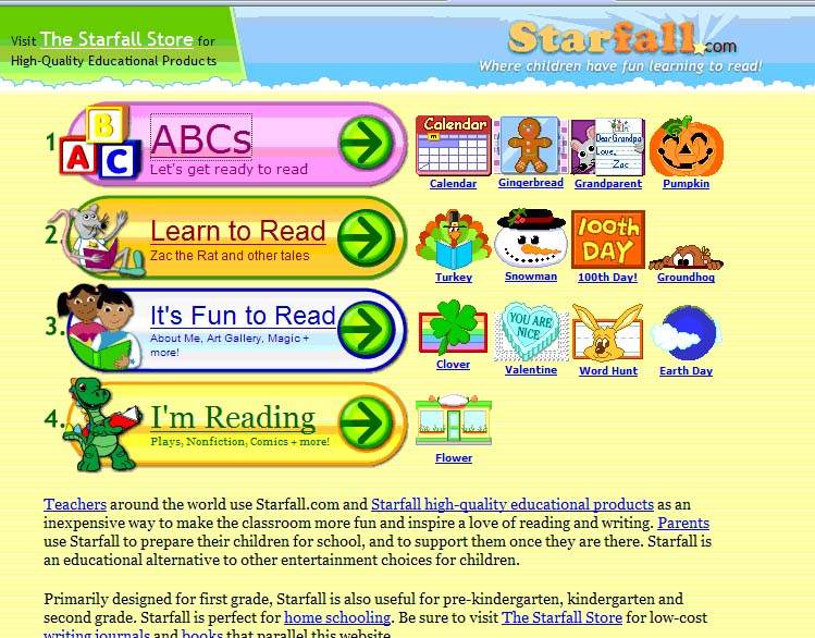 starfall com this website is mostly literacy based with