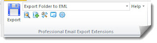 "MessageExport toolbar with ""Export Folder to EML"" selected"