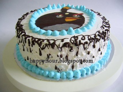 Happy Flour Black Angry Bird Character Birthday Cake