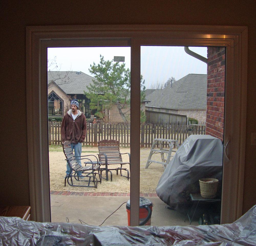 Joyful expressions window whirl - Bedroom with sliding glass doors ...