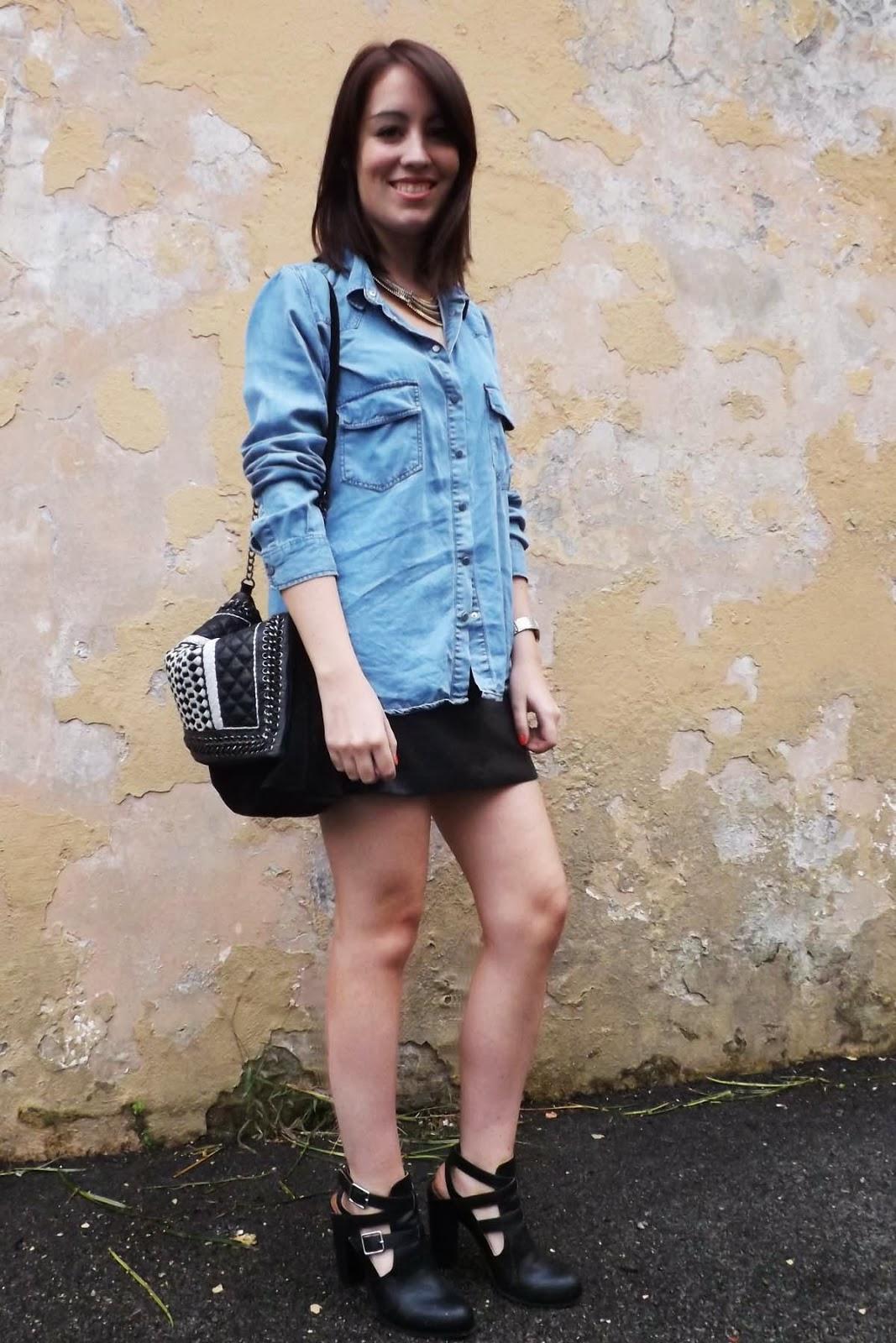 in heels post zara leather skirt denim